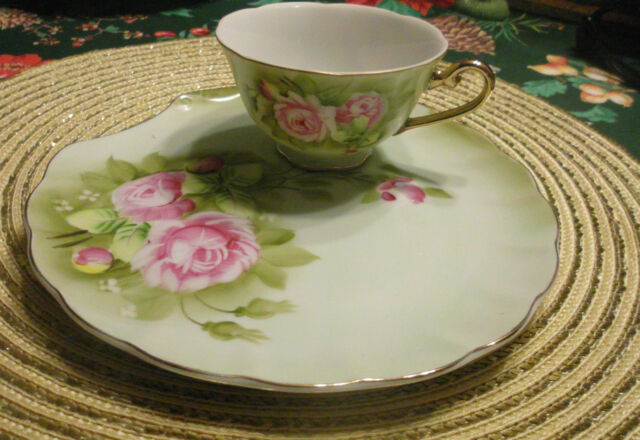vintage lefton china green heritage rose snack luncheon cup and