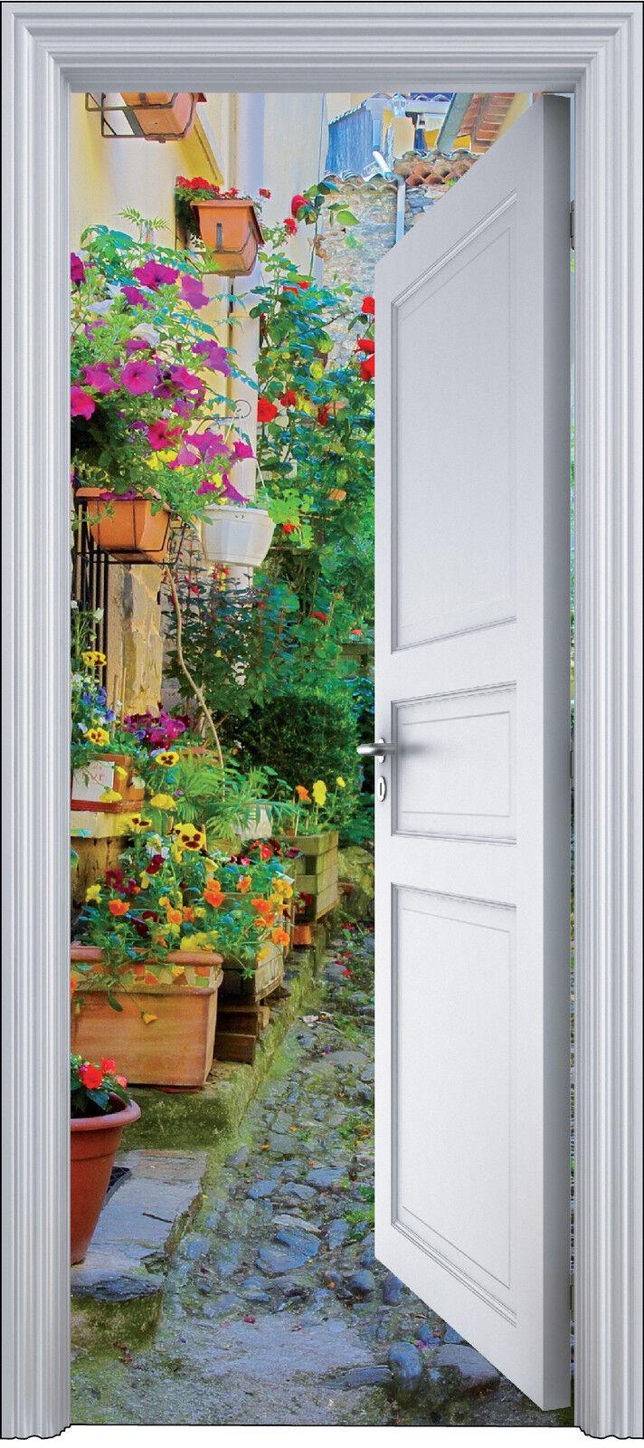 Adhesivo Puerta Trompa Trampantojo Decoración Callejuela con Flores 90x200 Cm