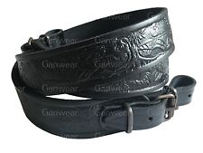 Deer Design Black Leather Rifle Sling Shotgun Air Gun Strap Hunting Shooting
