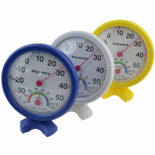 Mini Round Clock-shaped Indoor Outdoor Hygrometer Humidity Thermometer Meter