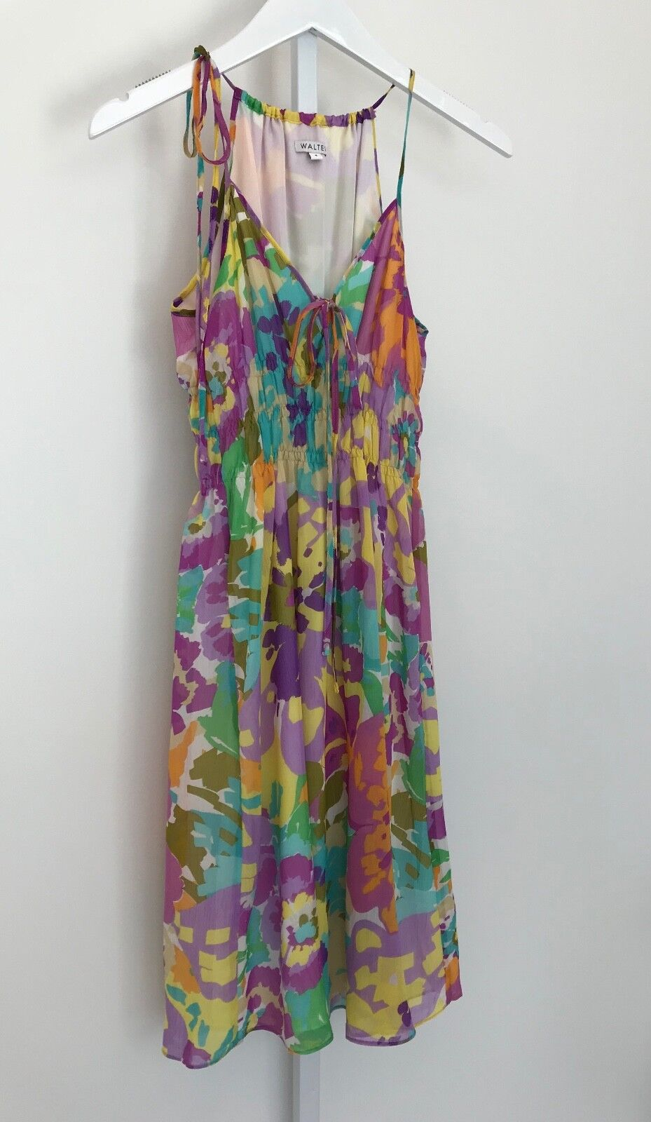 WALTER BEAUTIFUL SPRING SUMMER FLORAL SPAGHETTI STRAP DRESS WITH TIES SIZE 4