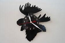 Moose Design vinyl record wall clock [ black gloss sticker ] home art office