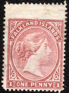 Falkland Islands 1885 pale-claret 1d crown CA sideways mint SG7