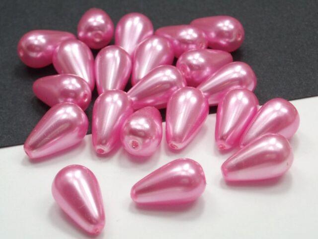 20 Böhmische Wachsglasperlen 13x8mm Rosa Tropfen Wachsperlen Beads Pearls #0786
