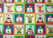 Christmas NOVELTY fabric squares 100% cotton 112cm wide x 3 rows= 33 pictures
