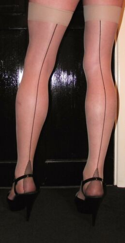 5 Pairs Small Nude 15 Denier Black Contrast French Cuban Heel Seamed Stockings