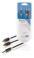 10m Stereo 3.5mm Jack Plug to twin 2x RCA PHONO Audio Lead GOLD CABLE Male Grey