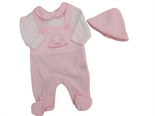BNWT Tiny Premature Preemie Baby girls or boys 2 piece dungaree hat 3-5 lb 5-8lb