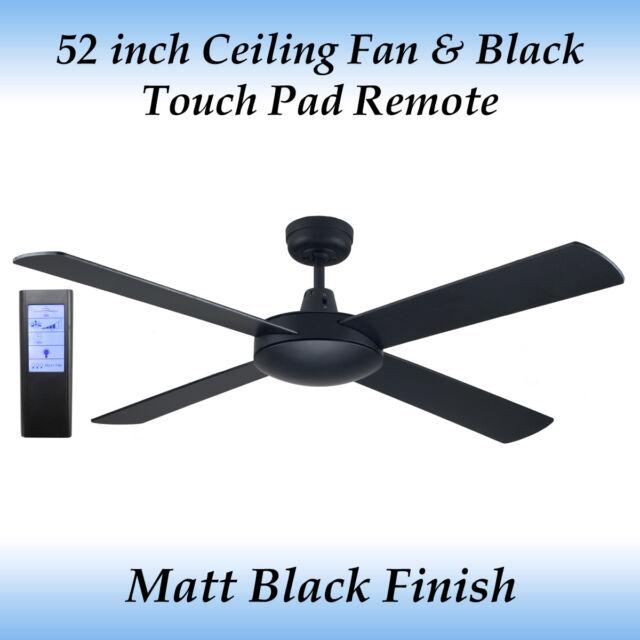 Genesis 52 inch (1300mm) Matt Black Ceiling Fan and Black Touch Pad Remote