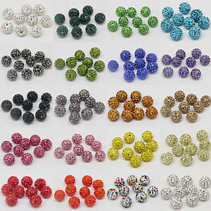 WHOLESALE-10mm-Crystal-Rhinestone-Pave-Clay-Disco-Ball-Spacer-Bracelet-Beads-DIY