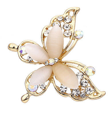 Exquisite Gold Plated Butterfly Design Resin Crystal Rhinestone Brooch Pin