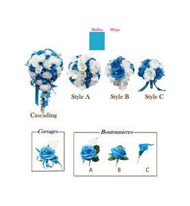 Malibu-Turquoise-White-amp-Silver-Wedding-Flowers-Bouquet-Corsage-Boutonniere