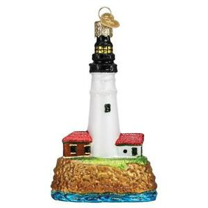 Old-World-Christmas-PORTLAND-HEAD-LIGHTHOUSE-20117-N-Glass-Ornament-w-OWC-Box