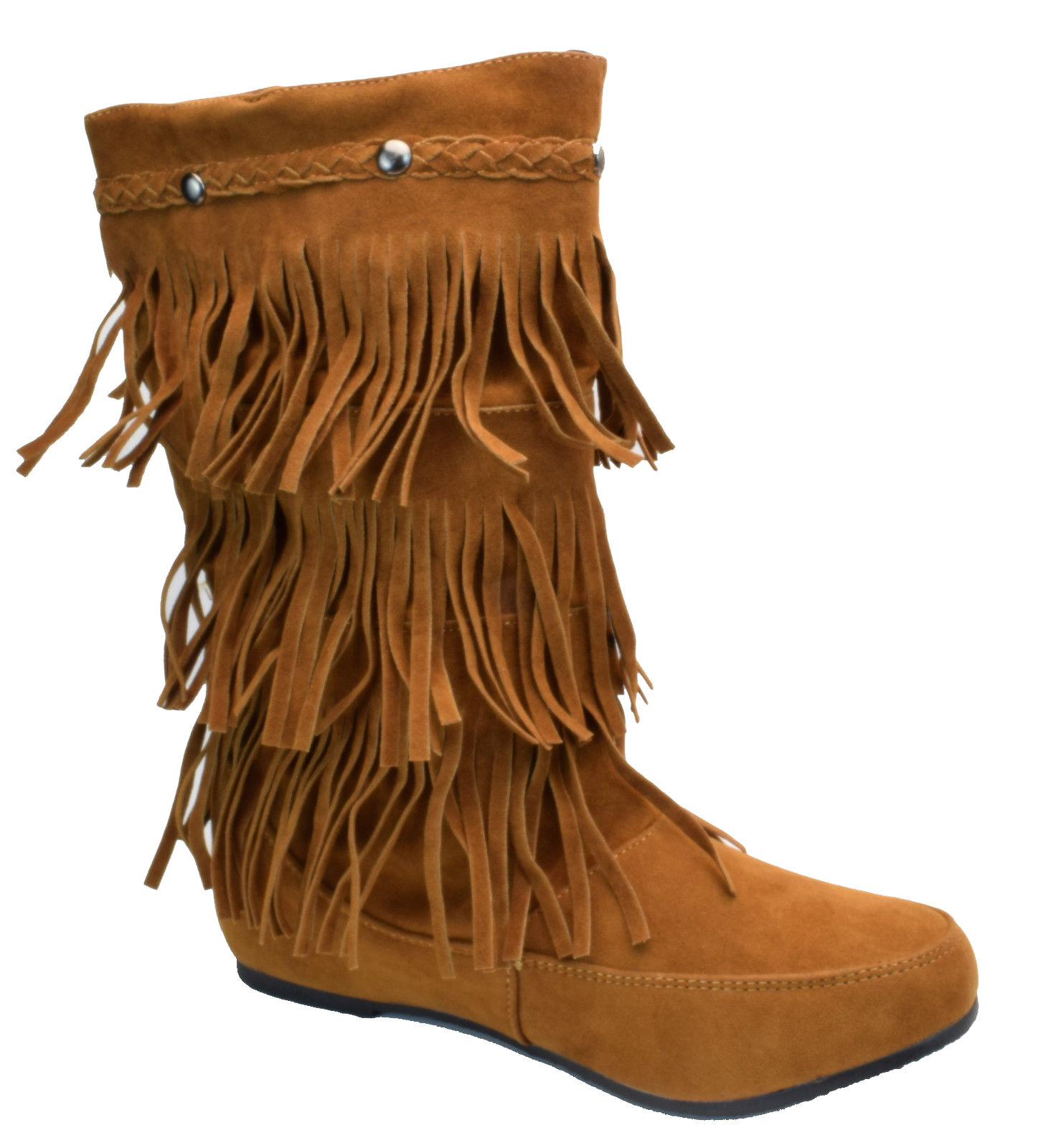 Womens Mid Calf Fringe Boots Chestnut Brown Faux Suede 10  Shaft