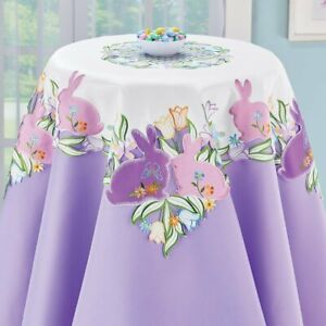 Easter Bunny and Spring Garden Tulips Embroidered Polyester Square Tablecloth