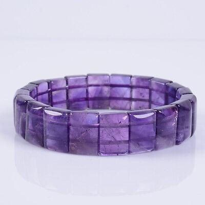 """g3912 14x10x6mm Amethyst rectangle stretchable bracelet inner diameter 56mm  7"""""""