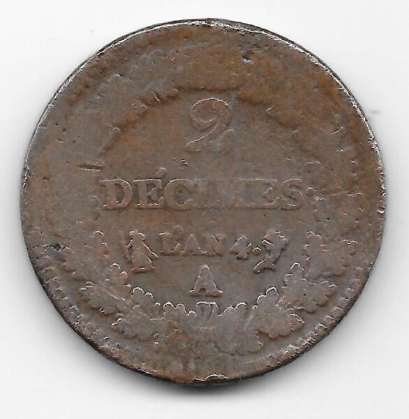 2 Decimes L'an 4 A - Directoire 1795 - 1799 Rare Recherchée Ventes De L'Assurance Qualité
