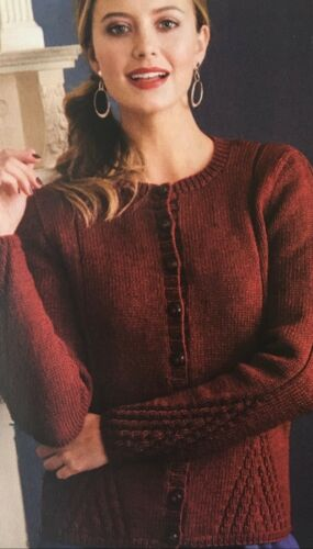KNITTING PATTERN Ladies Twisted Mock Cable Panel Cardigan Button Debbie Bliss DK