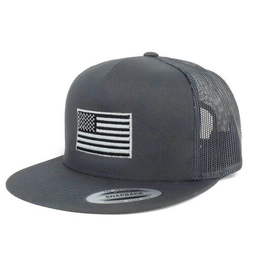 Oversize XXL Grey American Flag Embroidered 5 Panel Flatbill Snapback Mesh Cap