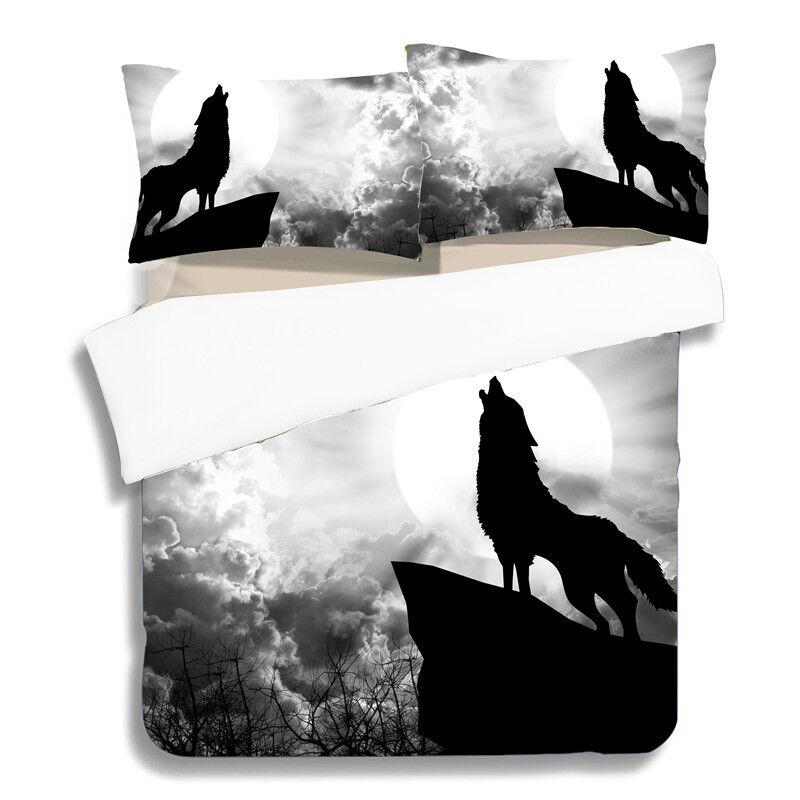 Animal Bedding Duvet Cover Set Twin Full Queen King Pillow Case Howls Wolf Print