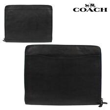 NWT Coach Men's Sport Calf Leather Business Document Portfolio F63398 Black