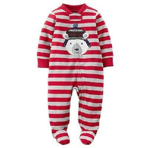 2d1ec252e8de Carter s Polar Bear Striped One-Piece Sleeper Pajamas Infant Baby ...