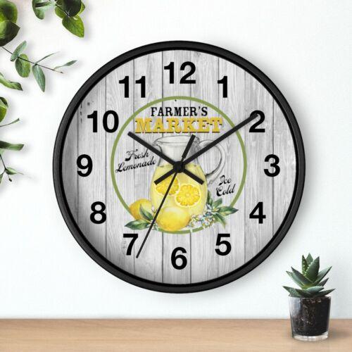 Farmers Market Lemonade 10 in Country Clock Kitchen Wall Clock Lemon Clock