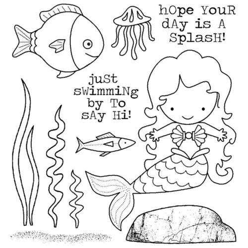 MERMAID Fish Splash Set CLING Unmounted Rubber Stamp Set Darcies JCS204 NEW