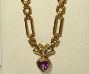 OUTSTANDING-HALLMARKED-9CT-YELLOW-GOLD-AMETHYST-AND-DIAMOND-UNIQUE-NECKLACE