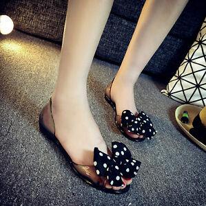a9a97db3bd5 NEW Fashion Women Polka Dot Bow Flat Jelly Sandals Peep Toe Summer ...