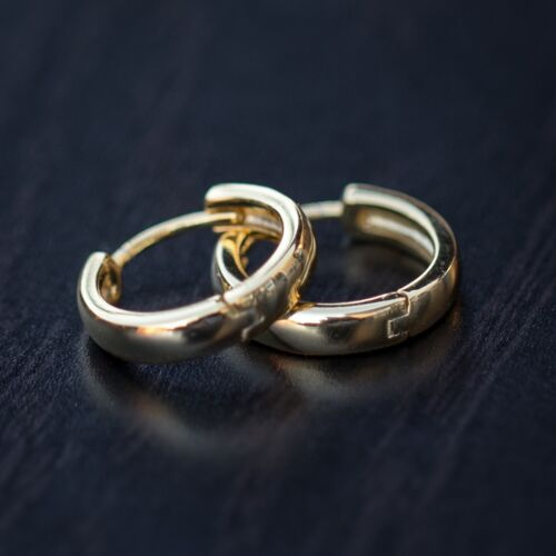 Yellow Gold 925 Sterling Silver Small Hoop Earrings