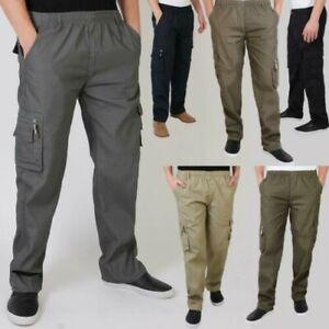 Uomo-Militare-Cargo-Pantaloni-Cotone-Lavoro-Chino-Casual-Kaki
