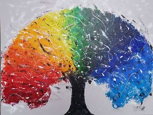 Details About Original Acrylic Painting On Canvas Abstract Art Wall Decor Rainbow Tree