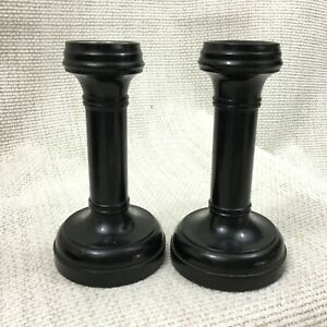 Antique-Pair-of-Candlesticks-Turned-Wooden-Black-Ebony-Pillar-Candle-Holders