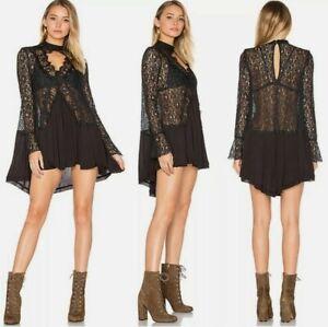 Free People Tell Tale Women's Dress Cutout Sheer Black Lace Long Sleeve Sz S #C
