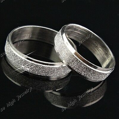 Hot Sale 4m 6m Stainless Steel Frosted Silver Wedding Ring Women Mens Jewelry