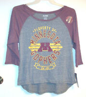 Minnesota Golden Gophers Womens Juniors Tshirts Sizes Sm Med Lg Xlg