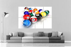 Bon Image Is Loading POOL TABLE Wall Art Poster Great Format A0