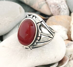 Handmade-Natural-Red-Agate-Carnelian-Stone-925-Sterling-Silver-Men-039-s-Ring-J33