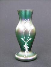 Bohemian iridescent green glass vase enamel flowers Carl Goldberg Art Nouveau