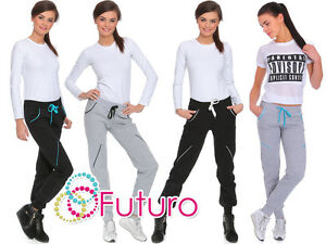 Womens-Grey-Jogging-Bottoms-Trousers-Tracksuit-Pants-Joggers-Sizes-8-14-FZ04