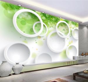 3D Green Cute Circle 8 Wall Paper Murals Wall Print Wall Wallpaper Mural AU Kyra