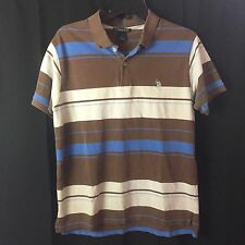 U.S. Polo Assn Men's Polo Shirt Striped Blue White Brown Size L