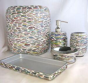 5-Pieces-Set-Multicolore-Mosaique-de-Verre-Distributeur-de-Savon-Plat