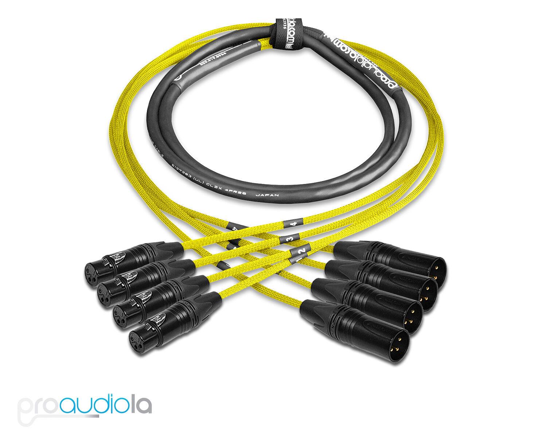 Premium 4 Channel Mogami 2931 Snake   Neutrik gold XLR-F XLR-M   Yellow 275 ft.