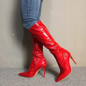 Womens-Pointy-Toe-High-Heels-Party-Stiletto-Knee-High-Riding-Boots-Runway-35-47