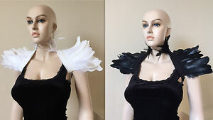 Black White Swan Goose feather shrug Gothic Collar Cape Shoulder Wrap Wedding