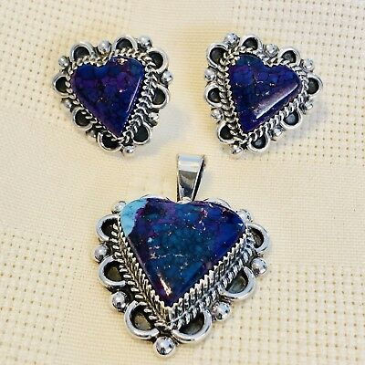 Real HandmadeTurquoise Heart Pendant Earrings Navajo G Boyd Sterling USA Options