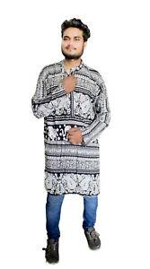 Indian-Men-039-s-Cotton-Shirt-Kurta-Loose-Fit-Elephant-Print-Tunic-Black-Color-Shirt