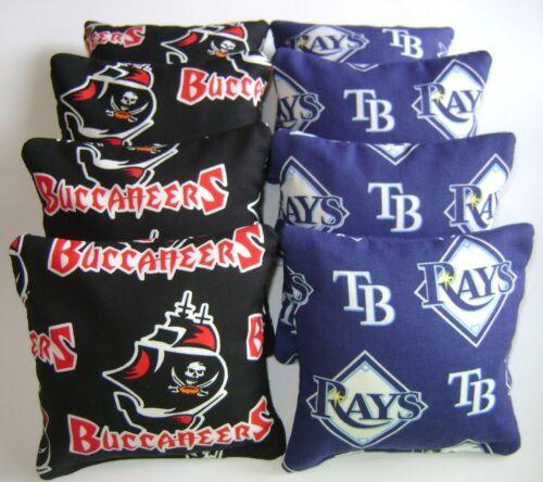 TAMPA BAY BUCCANEERS /& RAYS CORNHOLE BEAN BAGS BAGGO TAILGATE TOSS GAME SET OF 8